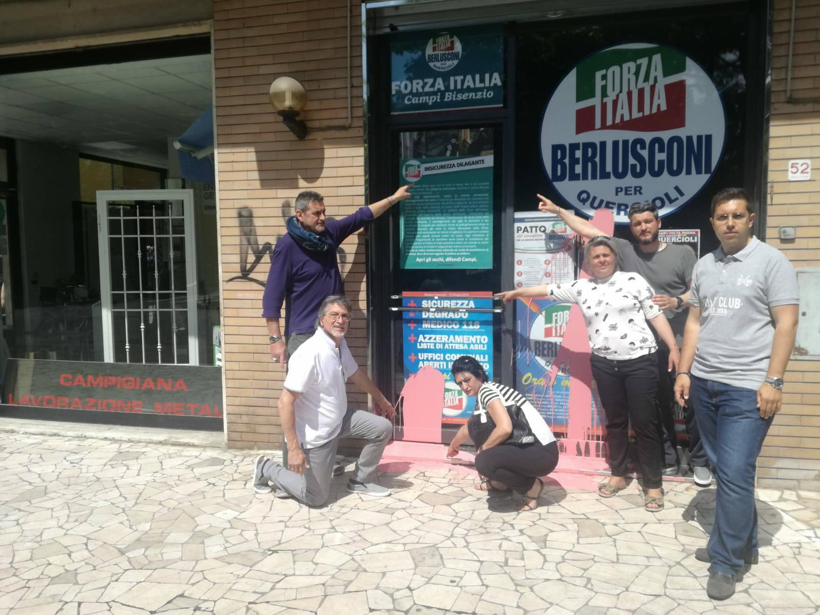 Campi imbrattato il comitato di forza italia lotti e for Deputati di forza italia